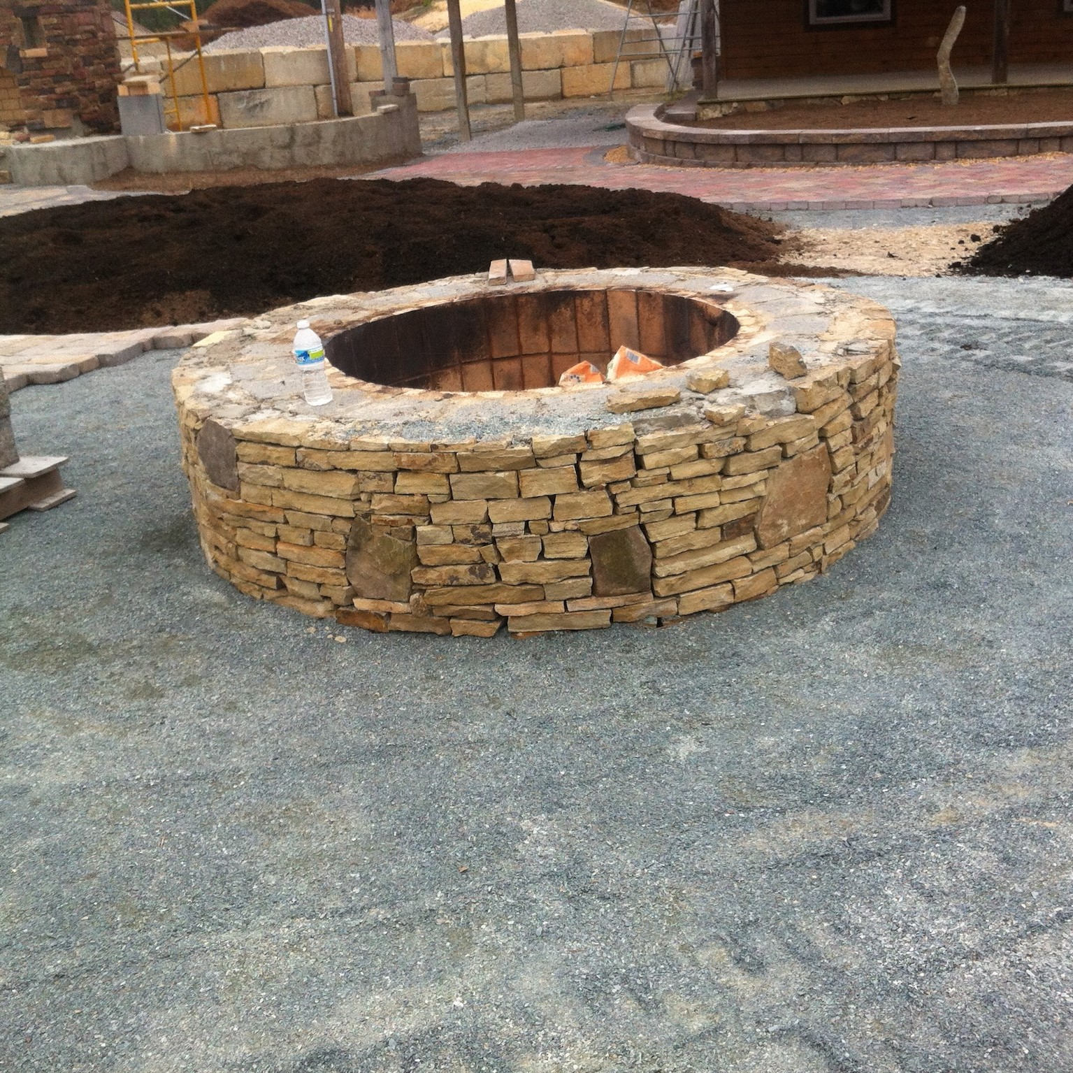 Stone Outdoor Fireplace Firepit in New Hampshire