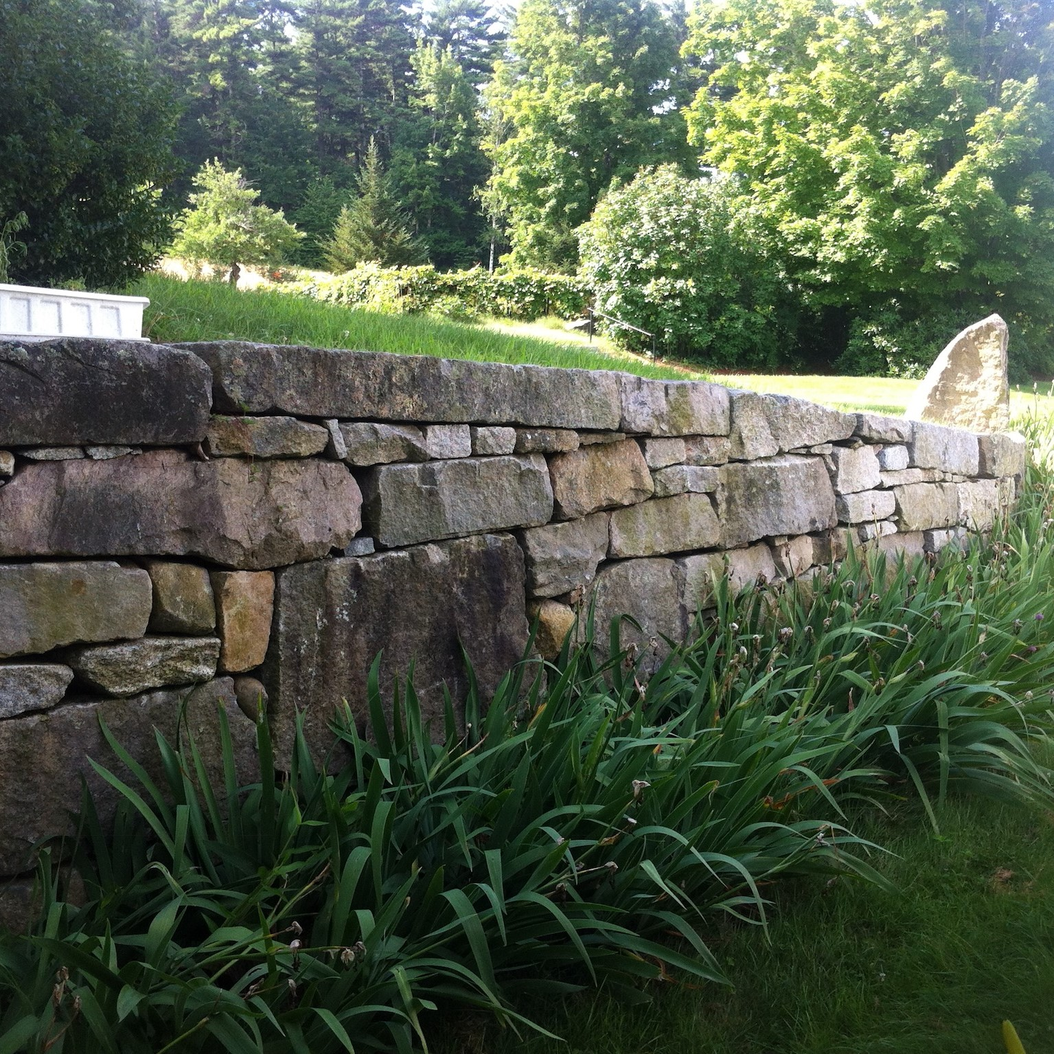 Stone Garden Wall Build in Brookline New Hampshire