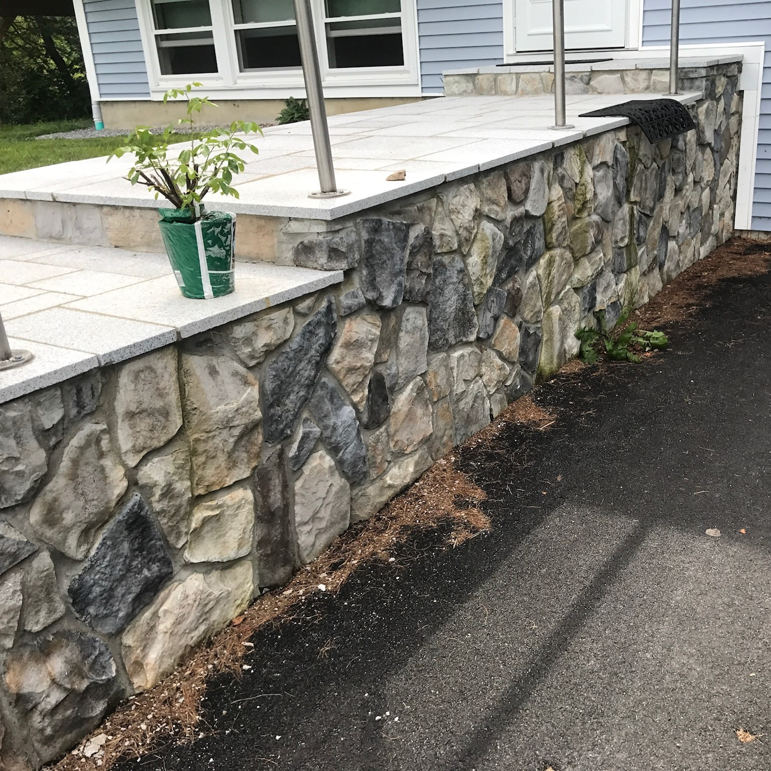 Granite Patio with Stone Veneer in Bennington New Hampshire