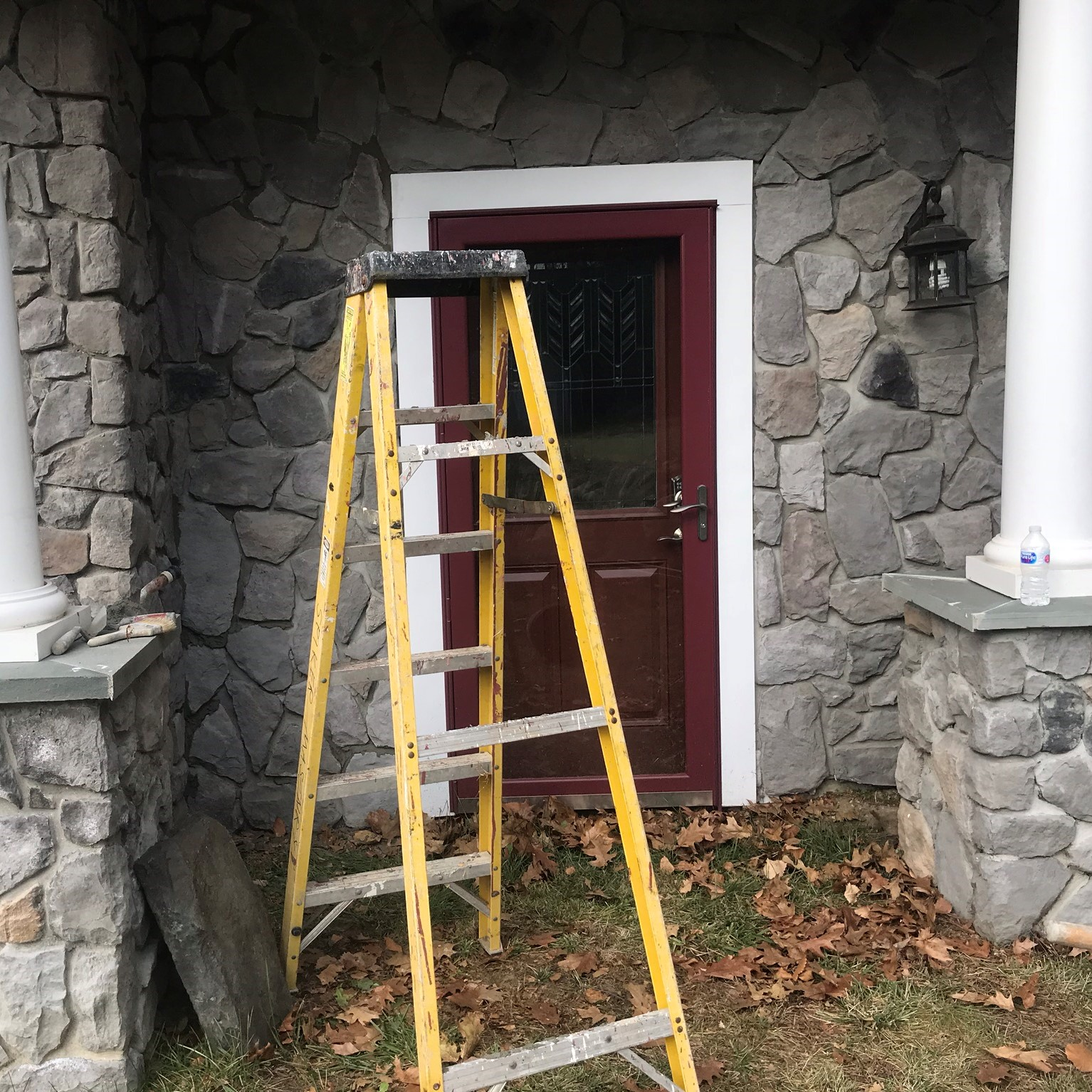 Stone Veneer and Pillars on front door in Massachusetts