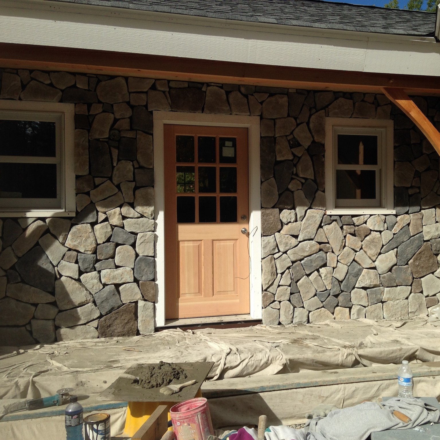 Front Door Stone Veneer in Greenville New Hampshire