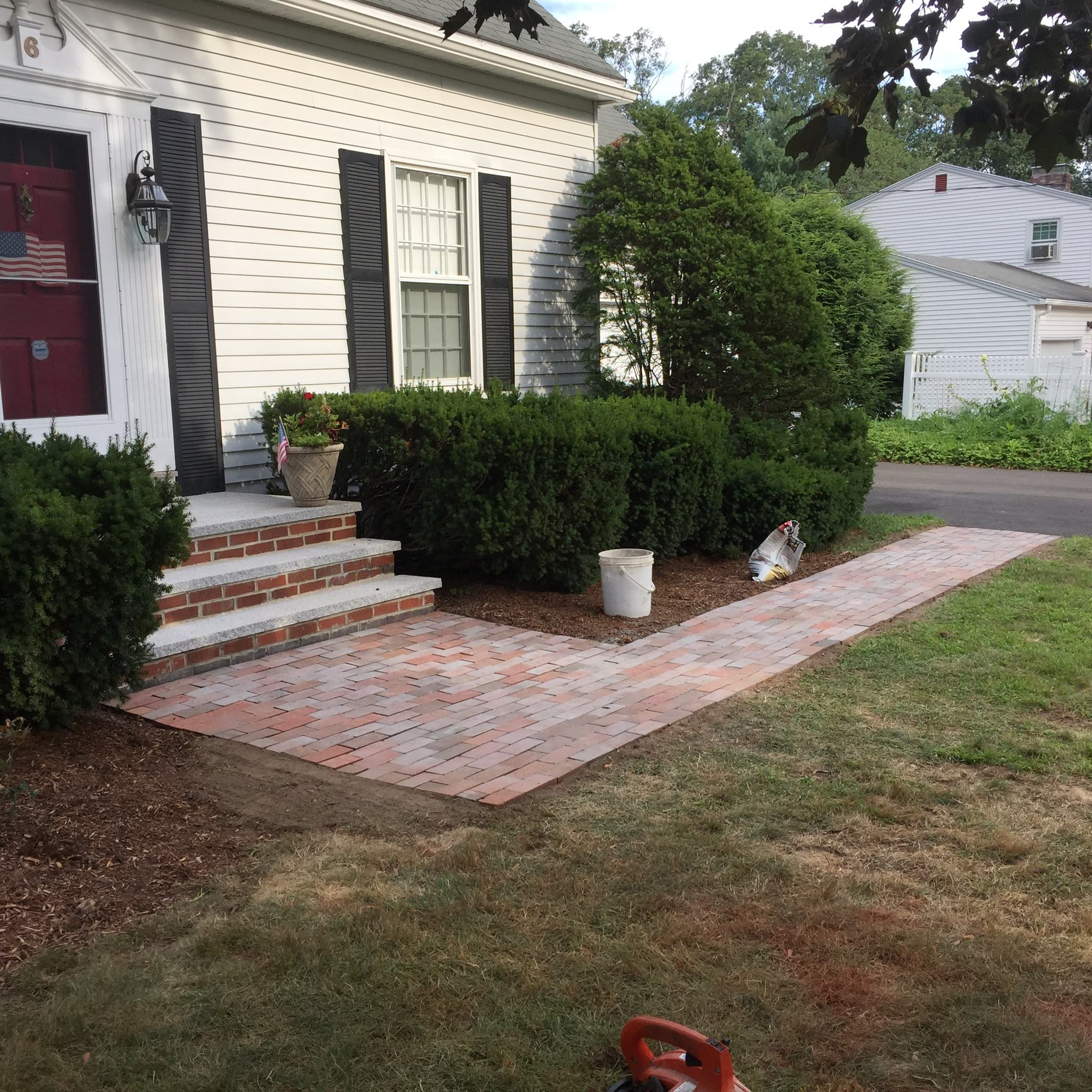 Brick Front Door Walkway Repair in Massachussets